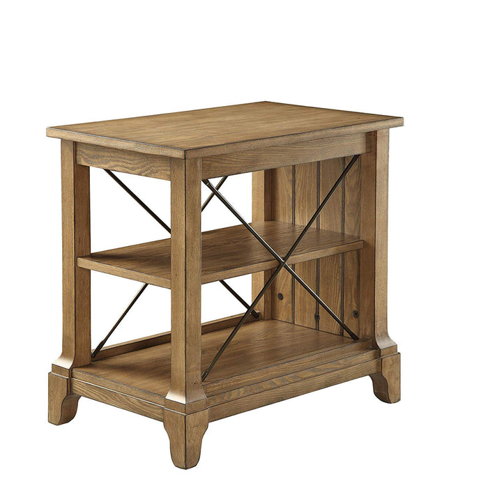 Wooden Side Table With 2 Compartments, Oak Brown