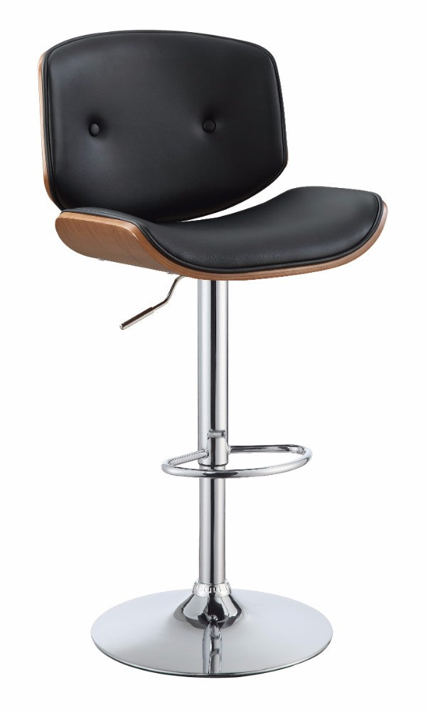 Faddish Adjustable Stool with Swivel, Black & Walnut Brown