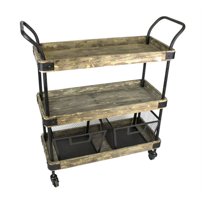 Industrial Style 3 Tiered Bar Cart With Two Baskets, Black And Brown