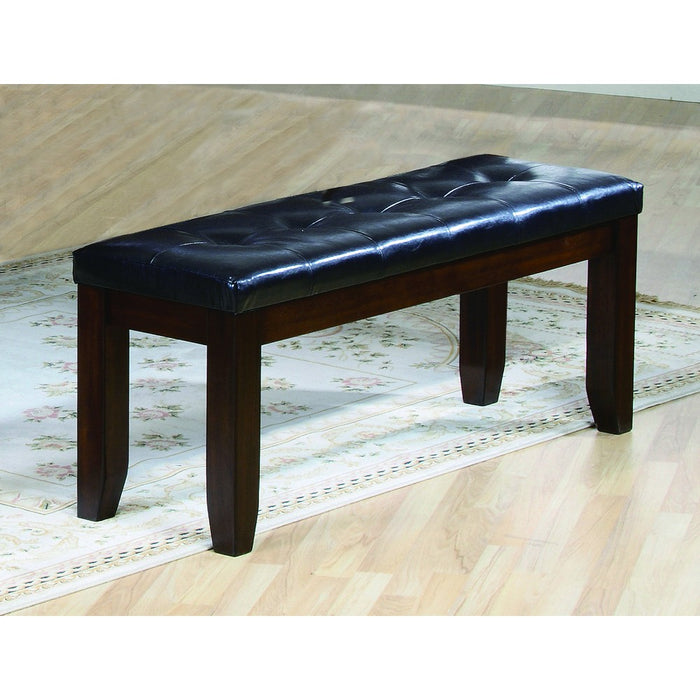 Impressive leather Tufted Upholstered Bench In Brown And Black