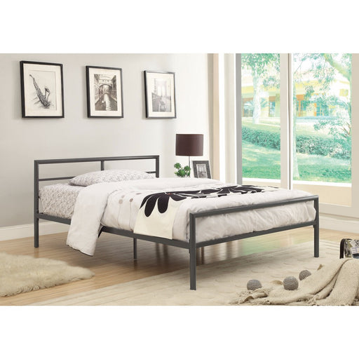 Traditional Styled Full Bed with Sleek Lines, Gray