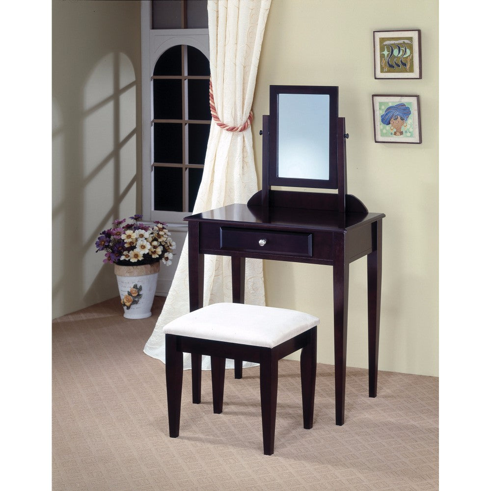 Contemporary 2 Piece Vanity Set With Stool with Fabric Seat, Brown