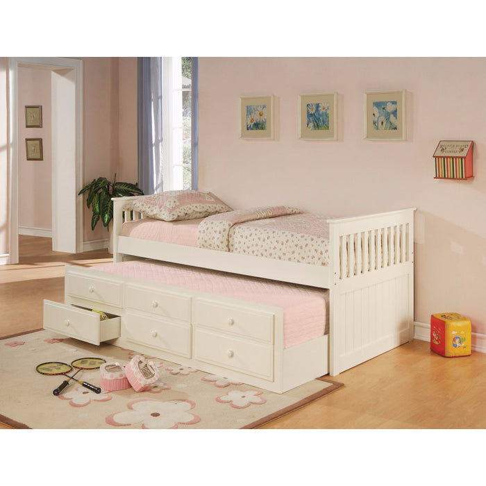 Stylish Daybed Bed with Trundle and Storage Drawers, White
