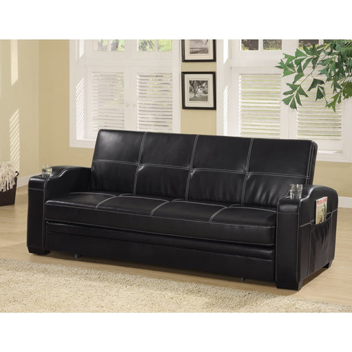 Faux Leather Sofa Bed with Storage and Cup Holders, Black