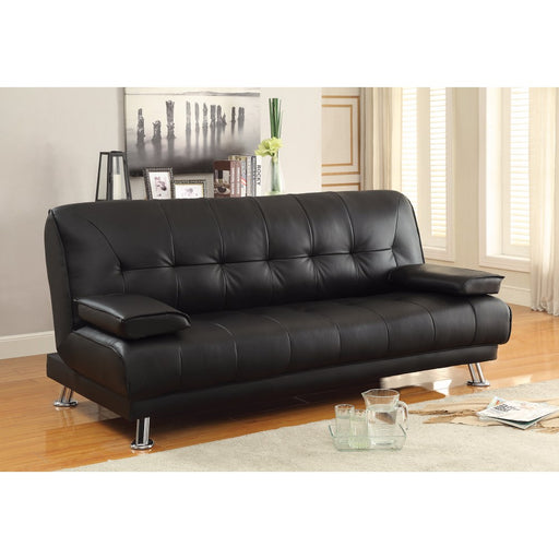 Faux Leather Convertible Sofa Bed with Removable Armrests, Black