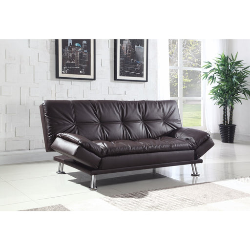 Contemporary Calming Sofa Bed With Chrome Legs, Brown