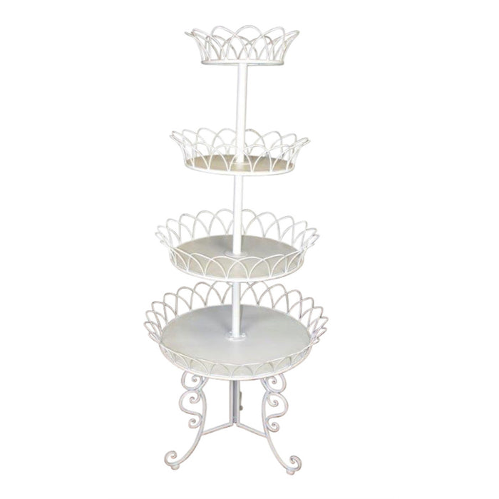 Exquisitely Designed 4-Tier Metal Stand, White
