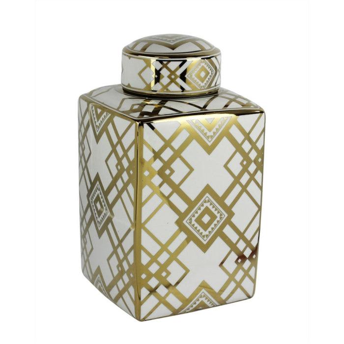 Square decorative Motif Ceramic Jar, White And Gold