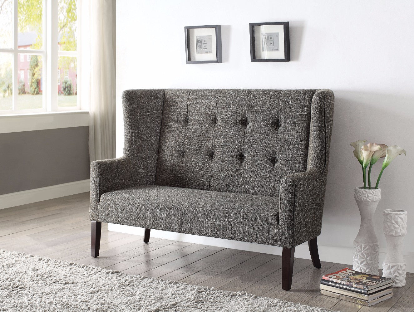 Imperial Settee, Gray Fabric & Espresso Brown