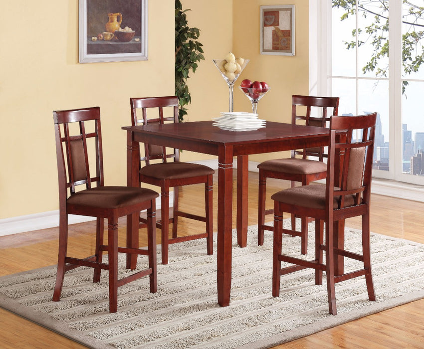 Elegant Counter Height Set, Cherry & Chocolate Brown, 5 Piece Pack