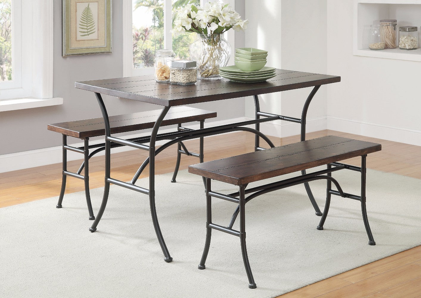 Metal Dining Set, Walnut & Antique Black, 3 Piece Pack