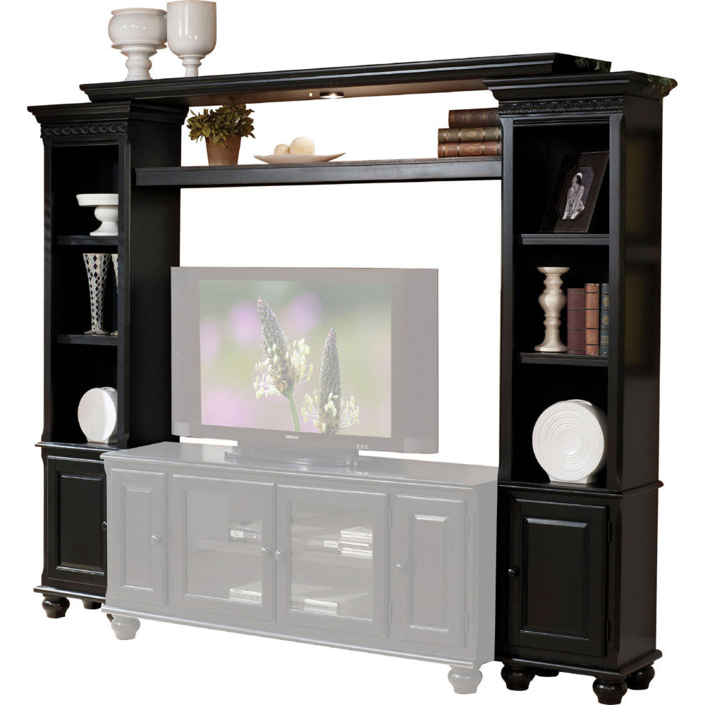 Wooden Wall Unit with Two Piers and Bridge, Black