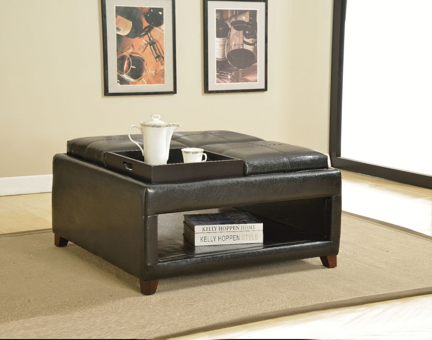 Oversized Ottoman with Tray, Dark Brown