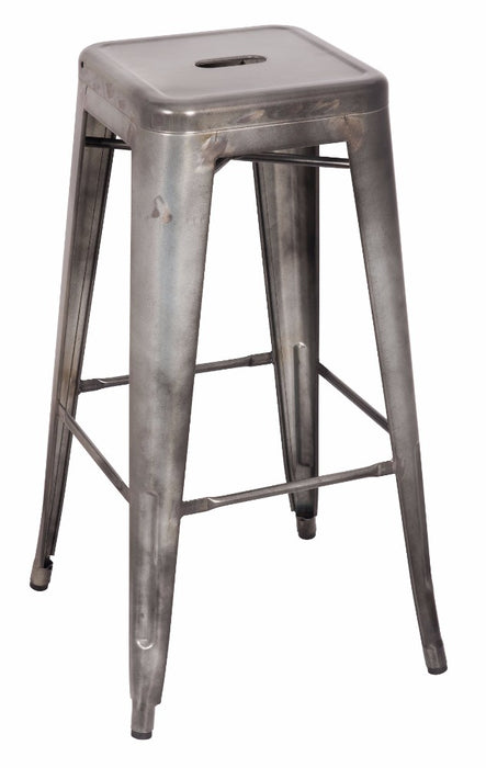 Metal Bar Stool (Set-2), Antiqued Silver