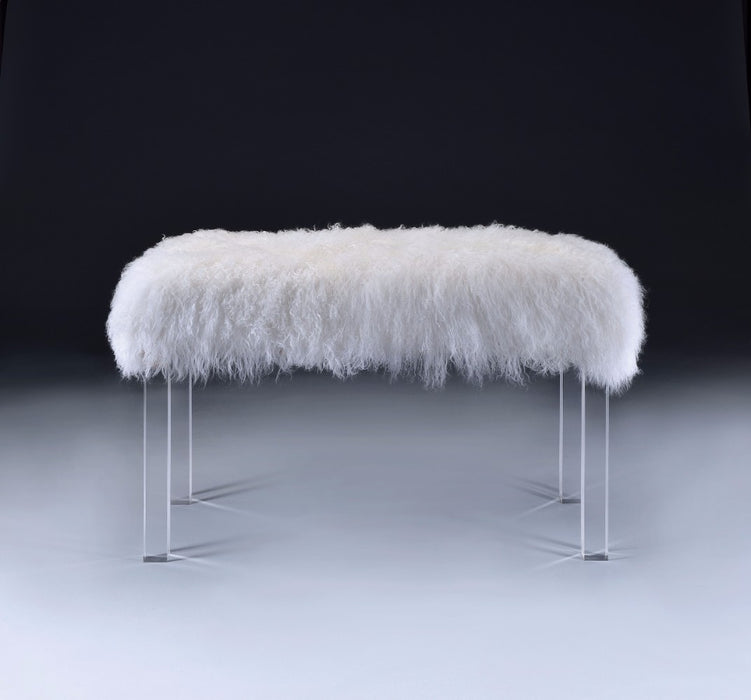 Feather Bench, Wool & Clear Acrylic