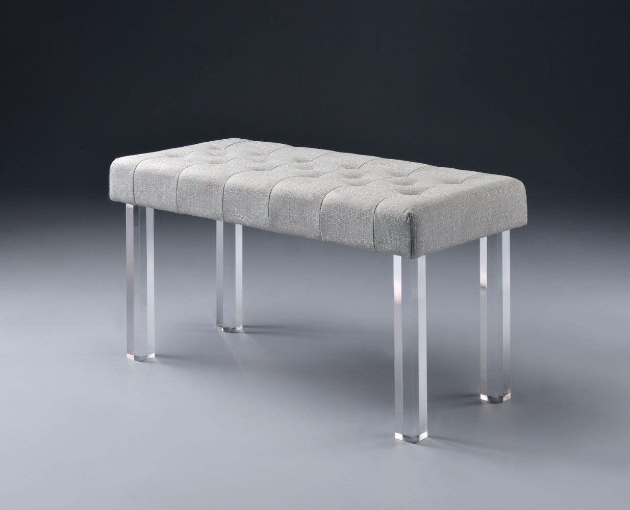 Sophisticate Bench, Gray Linen & Clear Acrylic