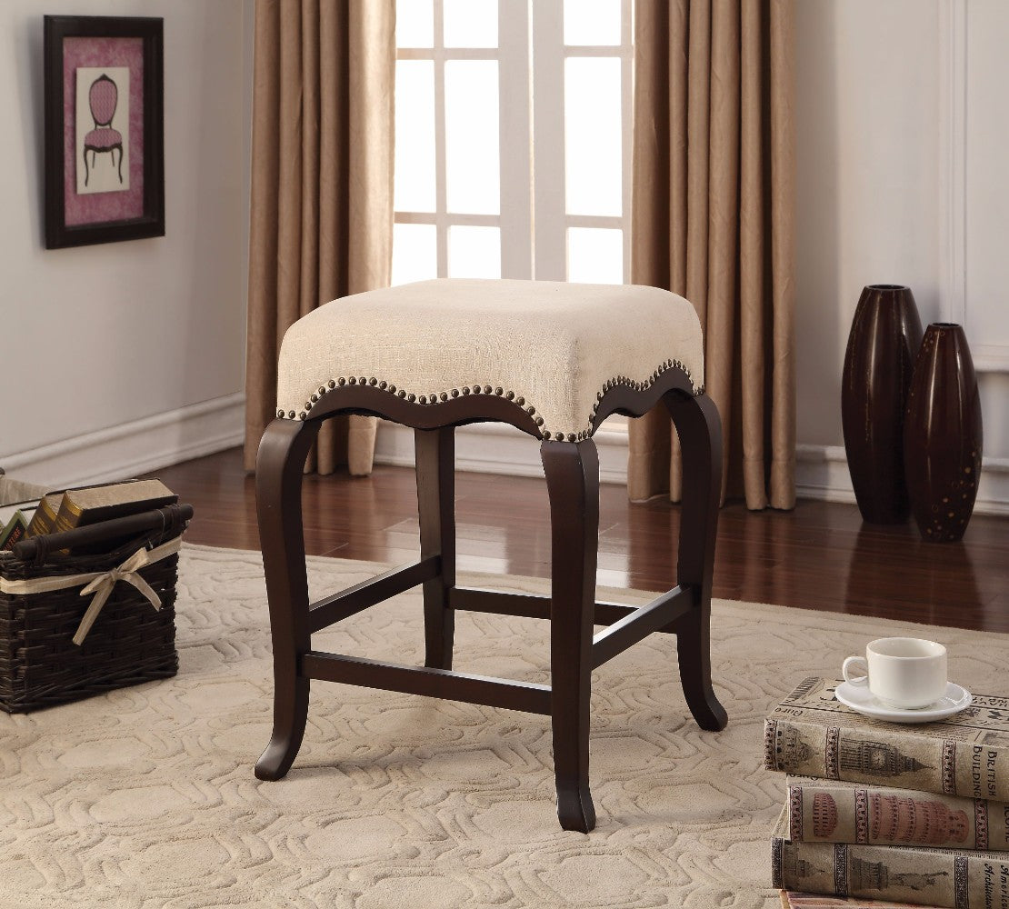 Wooden Counter Height Stool, Cream Fabric & Espresso Brown