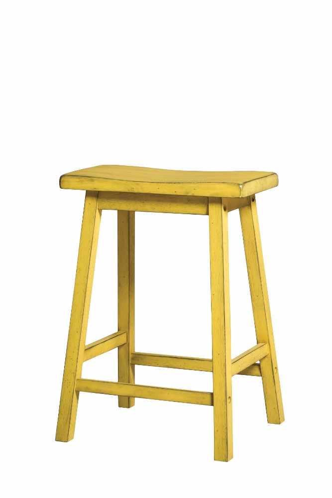 Wooden Counter Height Stool (Set-2), Antique Yellow