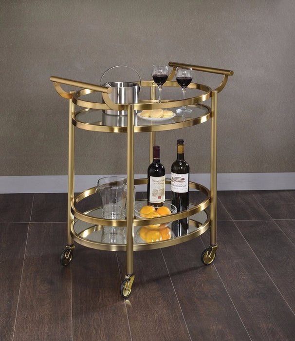 Oval Metal Serving Cart, Clear Glass & Gold