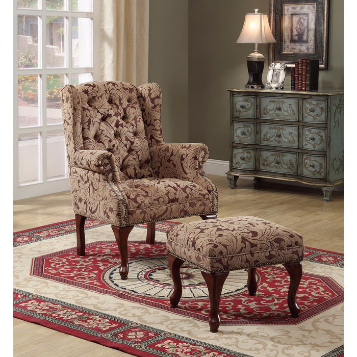 Classic Accent Chair With Ottoman, Light Brown