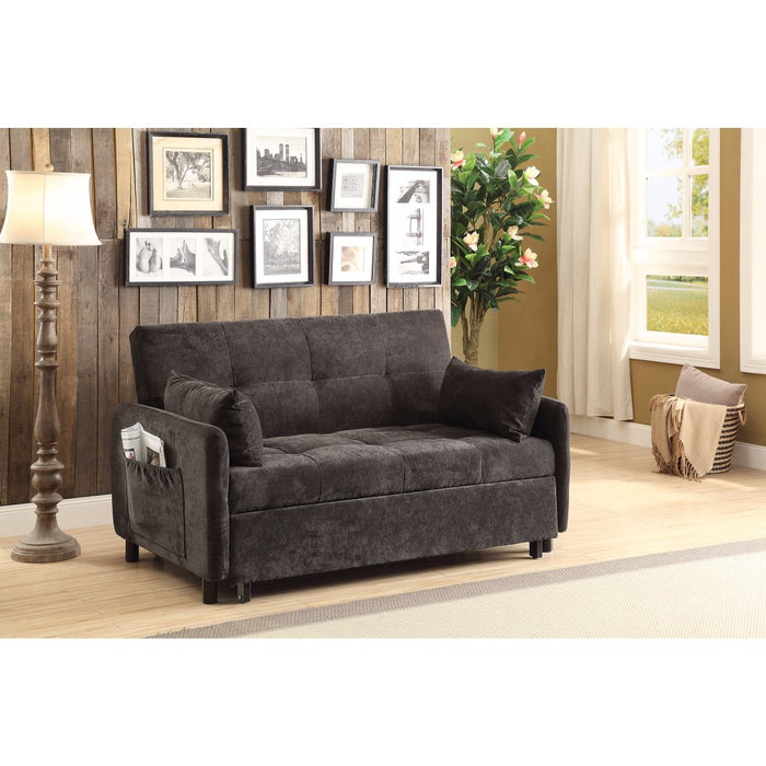 Small Velvet Tufted Sofa Bed, Dark brown