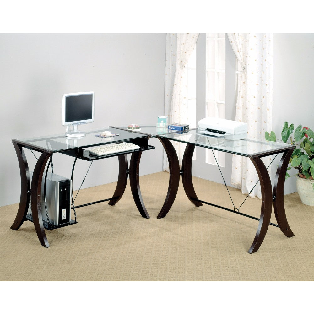 Sophisticated 3 Piece Desk Set With Glass Top, Clear And Brown