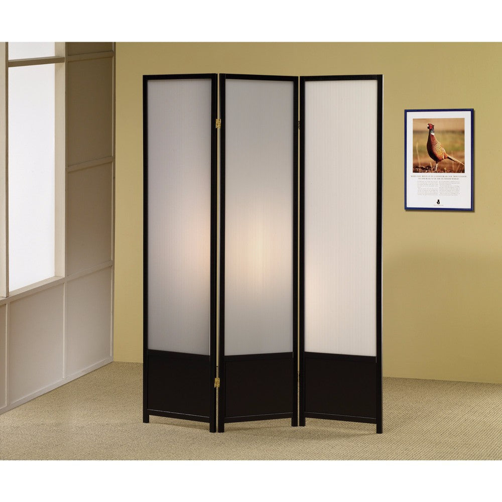 Three Panel Folding Screen with Translucent Inserts, Black