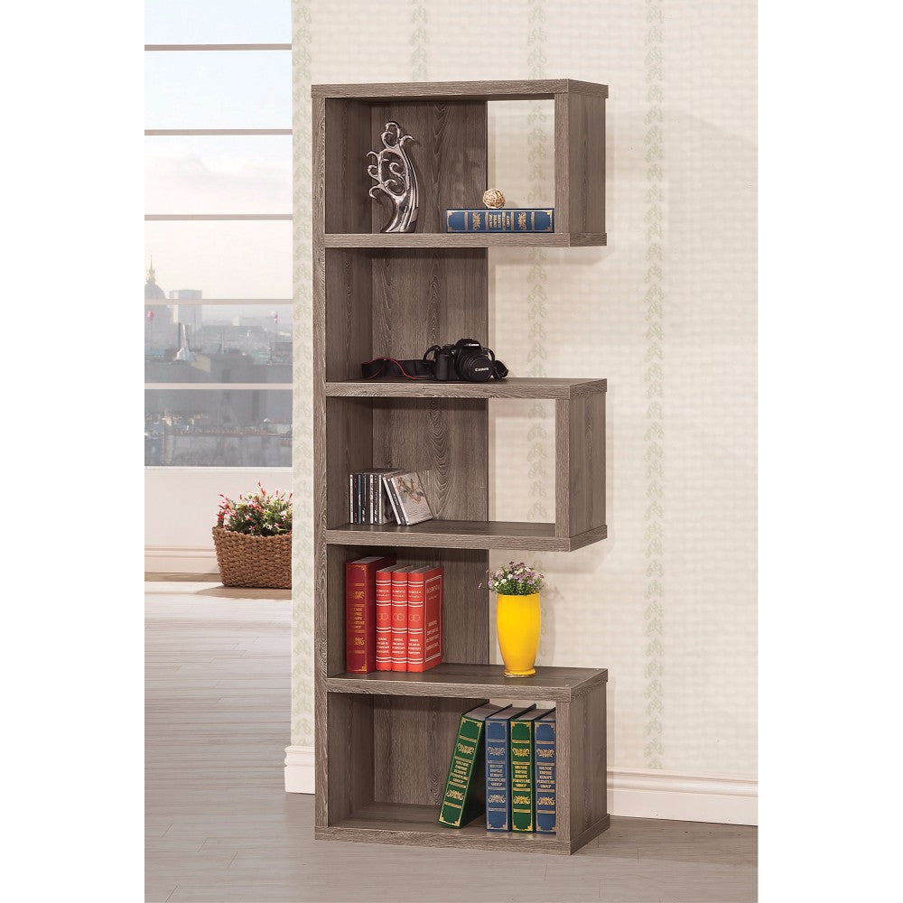 Sturdy Semi-Backless Wooden Bookcase, Gray