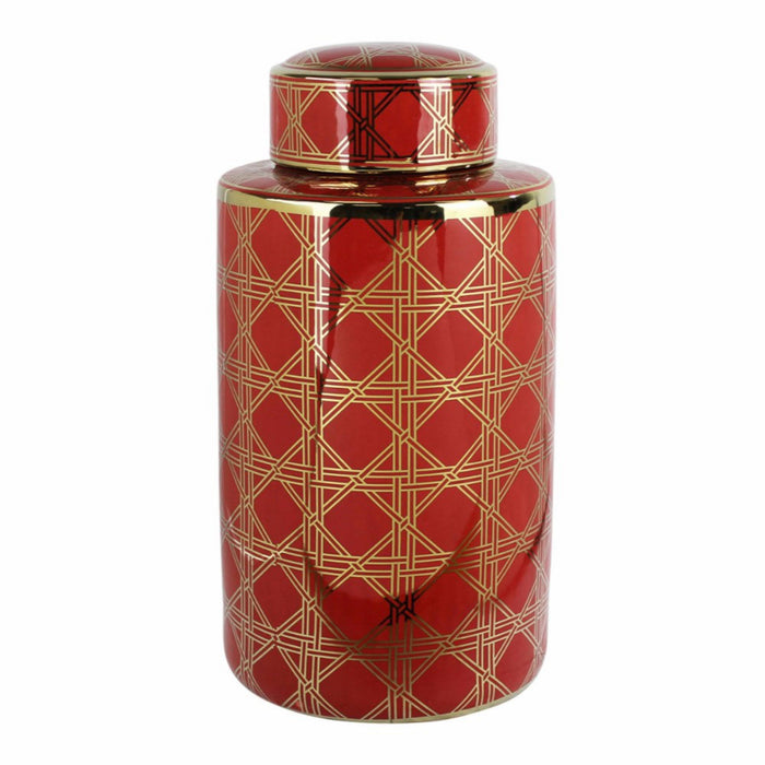 decorative Geometrically Patterned Ceramic Covered Jar, Red & Gold