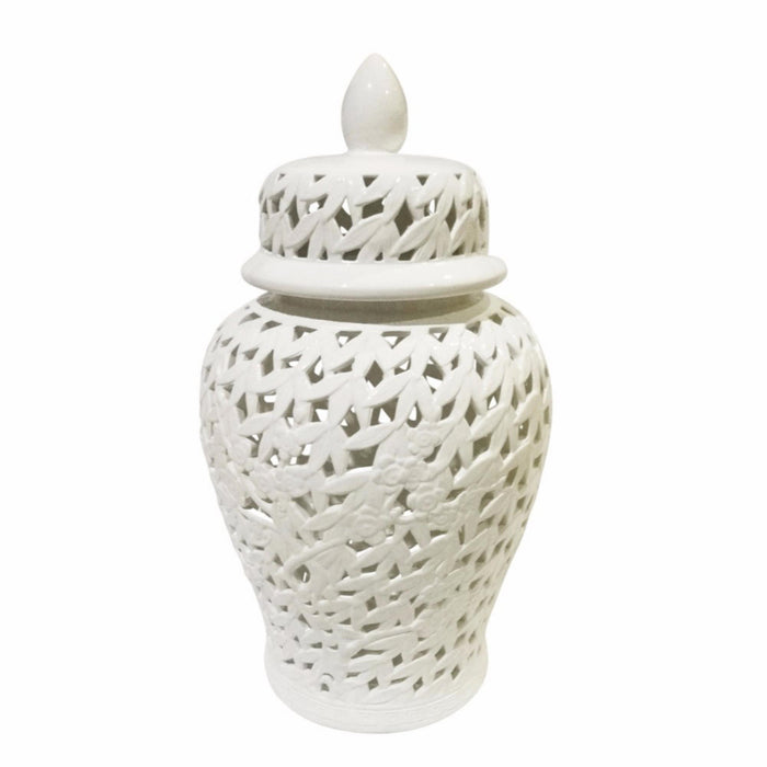 Elegantly Styled Pierced Ceramic Temple Jar, White