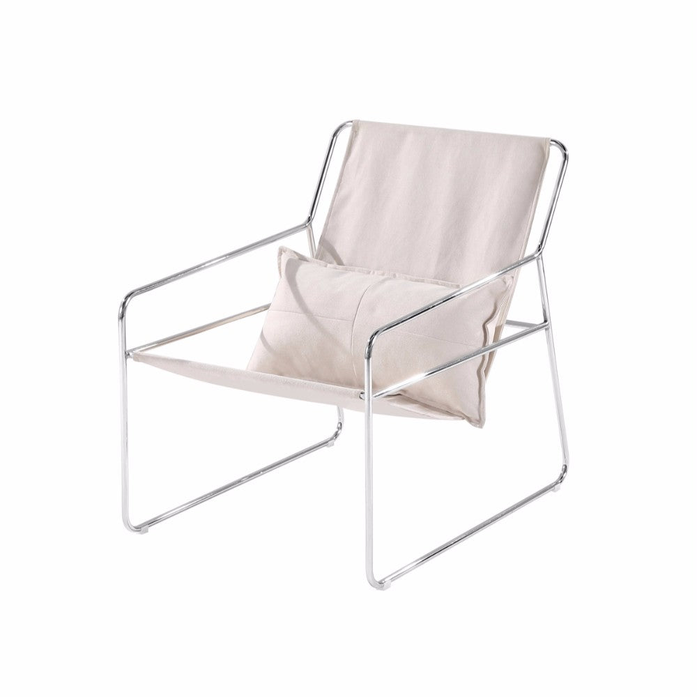 Contemporary Style Relaxing Sling Chair, Ivory And Silver