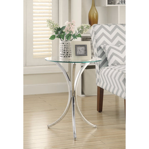 Modish Metal Accent Table With Glass Top,Silver And Clear