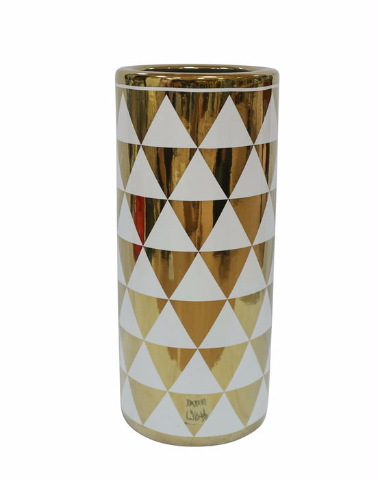 Durable Ceramic Umbrella Stand In Gold And White