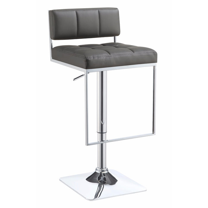 Classic Adjustable Metal Bar Stool, Gray & Silver