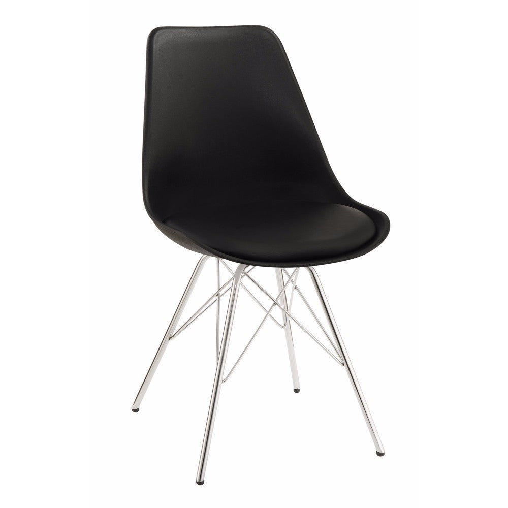 Contemporary Dining Chair With Chrome Legs, Black, Set of 2