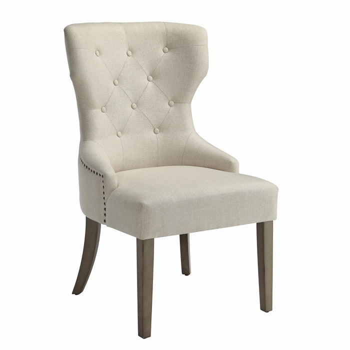 Luxurious And Comfy Button Tufted Dining Chair, Beige