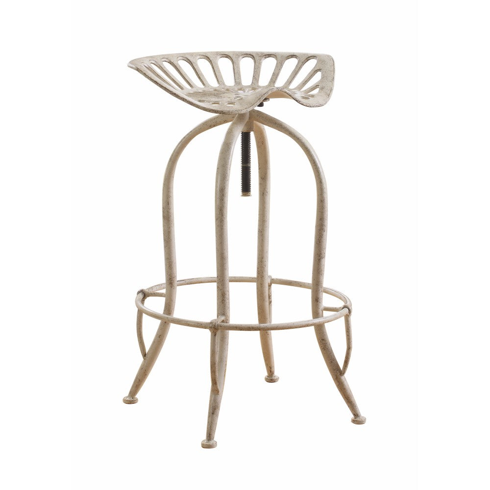 Classy Tractor Seat Adjustable Metal Bar Height Stool, Off White