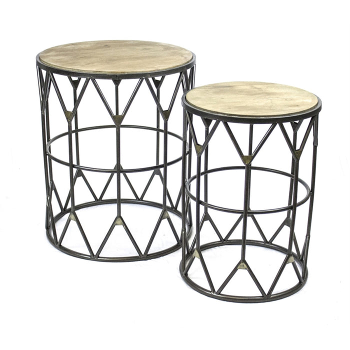 Set of 2 Style Cultured Metal Accent Tables, Black & Brown