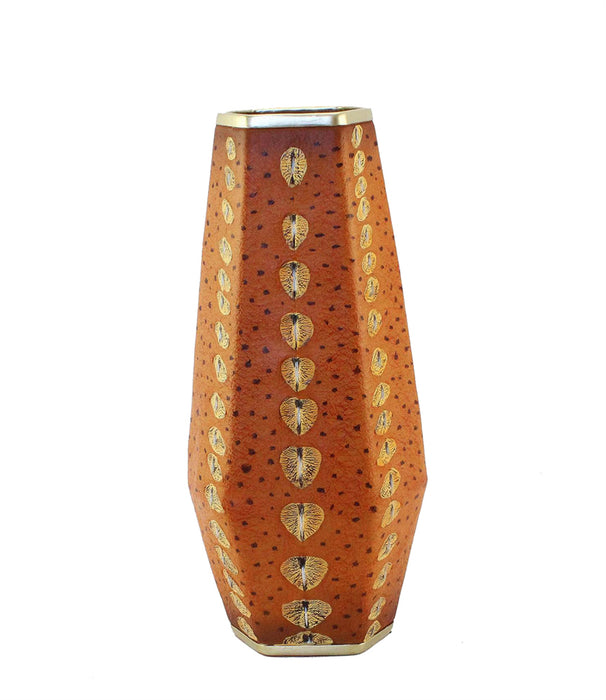 Polyresin Sturgeon decorative Vase, Orange And Gold