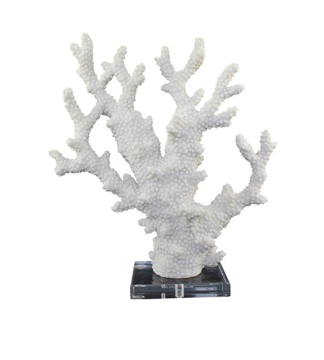 Polyresin Coral Sculpture With Acrylic Base, White