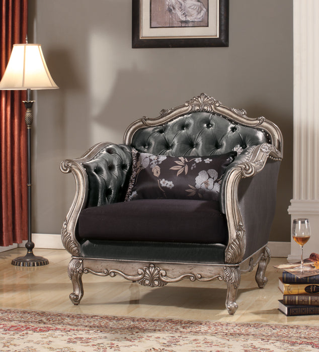 Royal Chair with Pillow, Silver and Gray