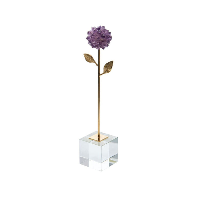 Enticing  Stone Flower With Metal stem, Purple And Gold