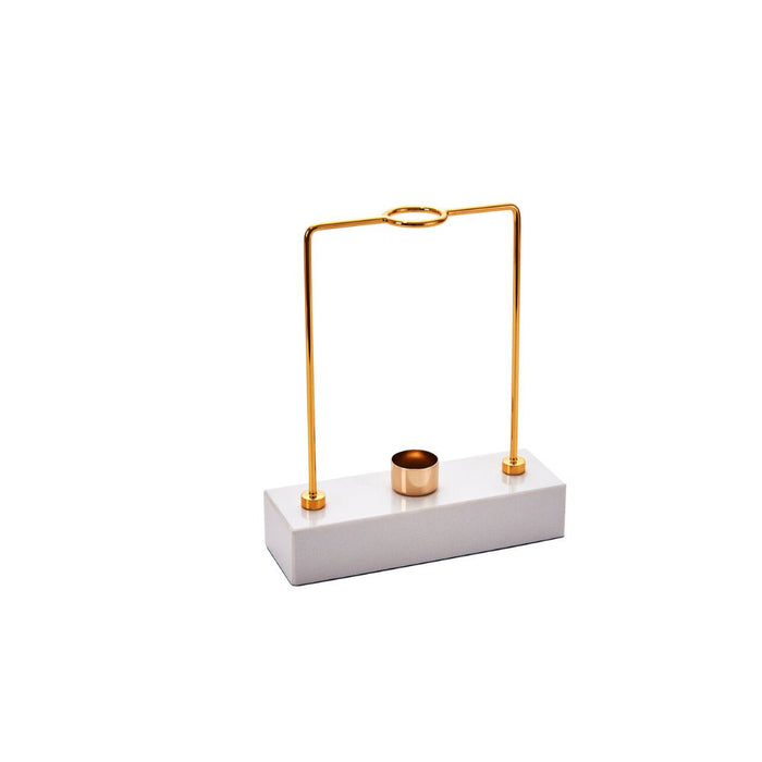 Dazzling  Metal Candle Holder, Gold And White