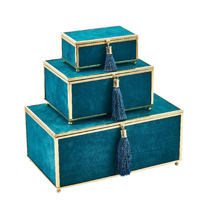 Elegantly Charmed Velveteen Storage Boxes With Tassel, Blue, Set Of 3