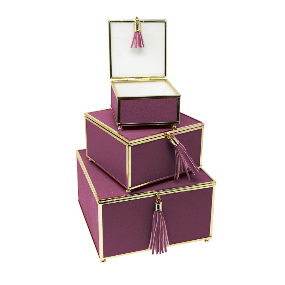 Excellent Purple Set Of 3 Storage Boxes With Tassel