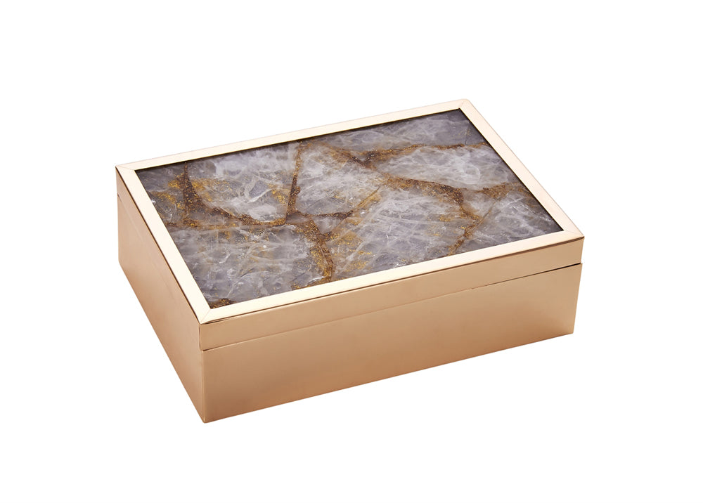 Sophisticated decorative Glass Jewelry Box, Bronze
