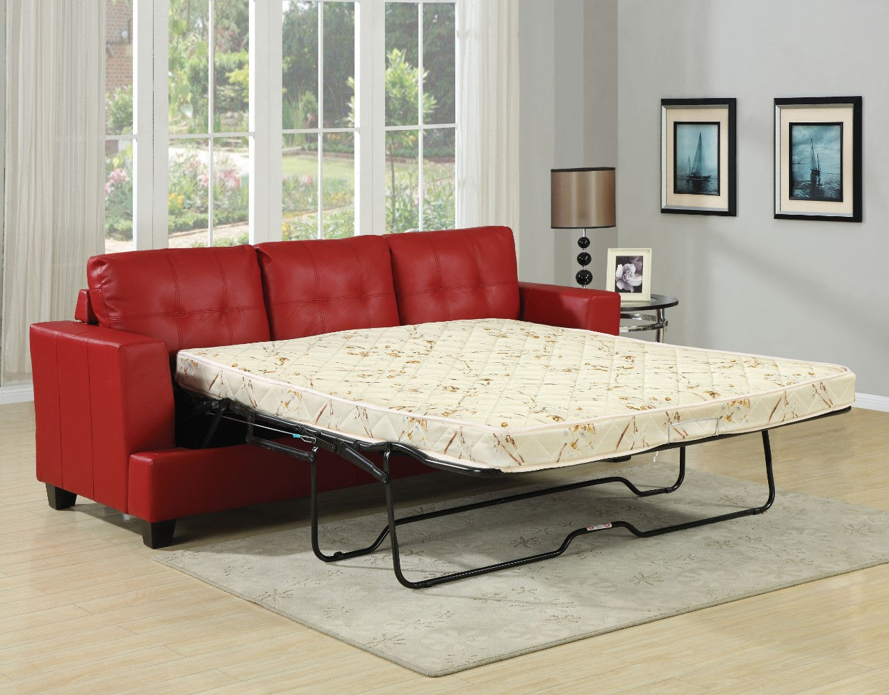 Platinum Sofa With Queen Sleeper, Red