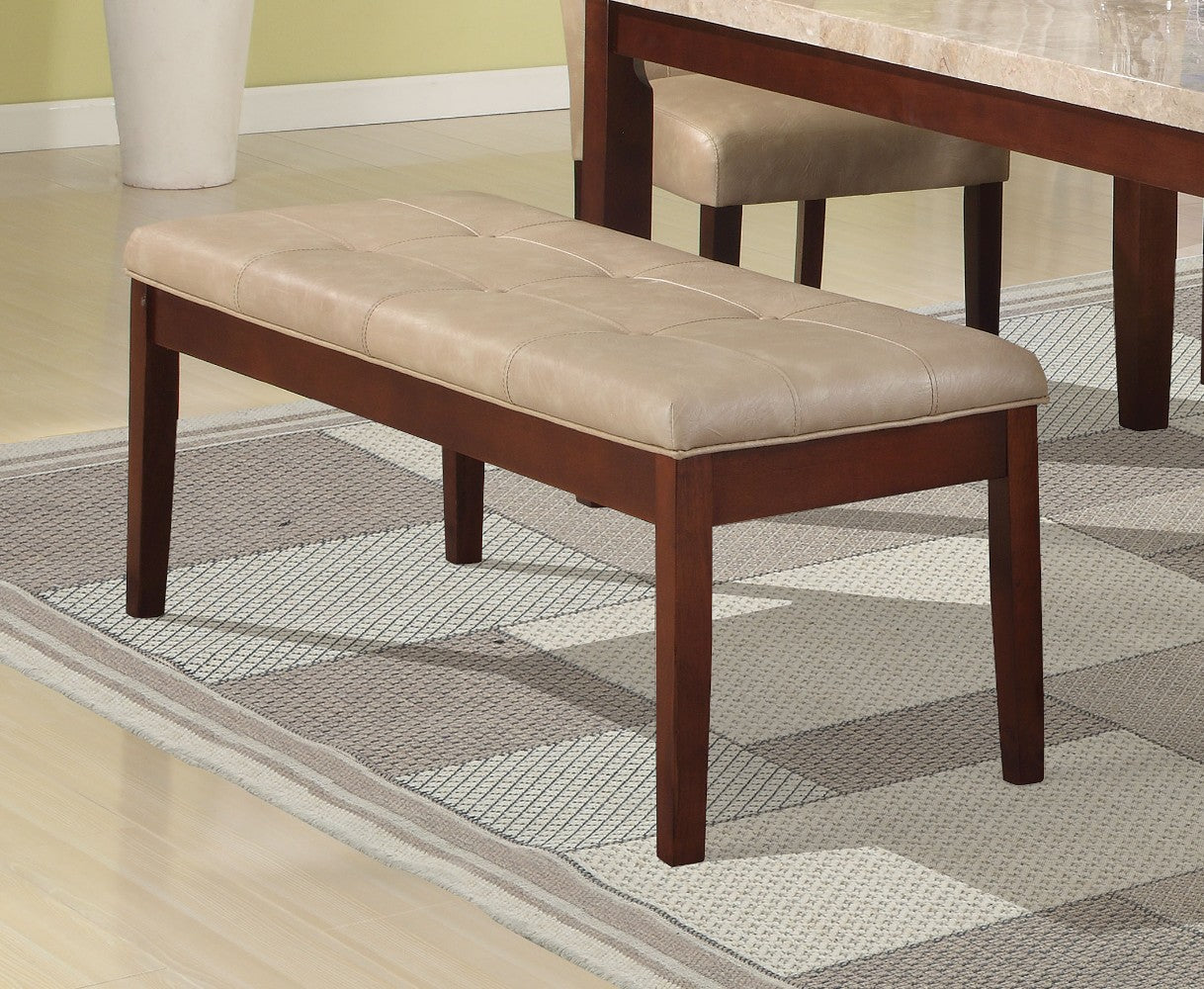 Conventional Britney Bench, Cream & Walnut Brown