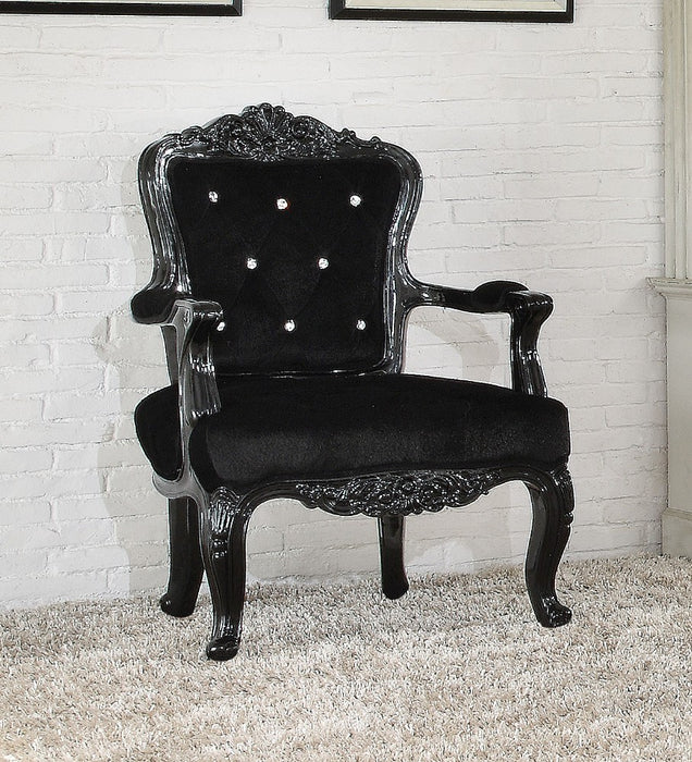 Resin & Wooden Frame Accent Chair, Black