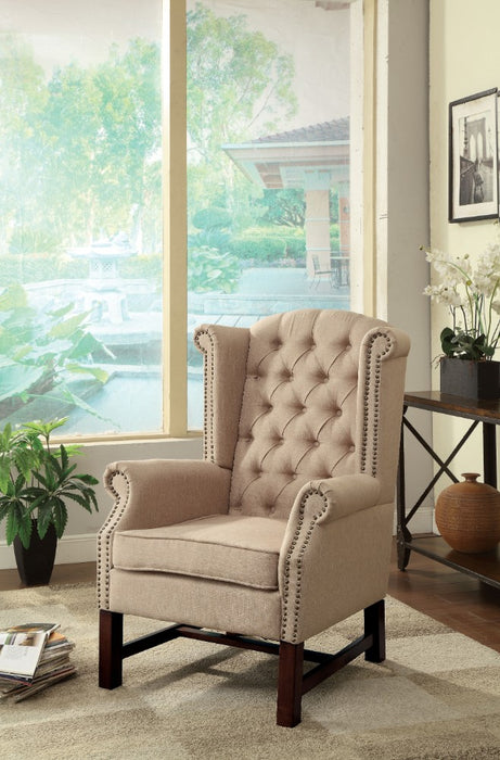 Wooden Accent Chair With Polyester Fabric, Beige